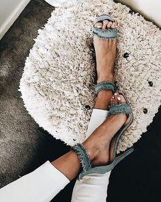 Chic denim heels.