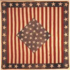 Stars-and-stripes quilt, 1861    The names of Union generals are stitched into the stars of this patriotic quilt, made by Mary Rockhold Teter of Noblesville, Indiana, for her son George, who served in the Civil War. In 1920 George Teter presented the quilt to his grandson's wife, Martha Brown Teter, in honor of her own military service during World War I. The family donated the quilt to the Smithsonian in 1940.