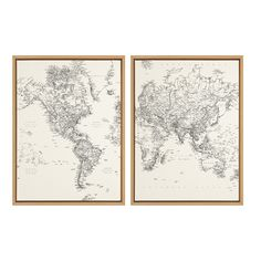 Sylvie Vintage Black and White World Map Framed Canvas by The Creative Bunch Studio - Natural / 2 Piece 18x24
