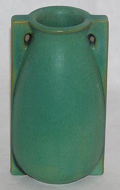 "Teco Pottery - Two-Handled Buttress Vase. Matte Green Glaze. Chicago, Illinois. Circa 1900. 5-1/2"" x 3-1/4""."