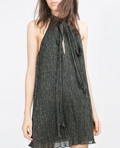 Image 3 of HALTER NECK SHIMMER THREAD DRESS from Zara