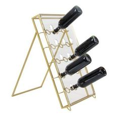 Decmode Contemporary 24 x 15 inch iron and acrylic wine holder, Clear, Size: 21 inchD x 15 inchW x 27 inchH, Gold Contemporary Wine Racks, Contemporary Style, Countertop Wine Rack, Wine Bottle Rack, Wine Refrigerator, Wine Collection, Wine Storage, Cool Kitchens, Clear Acrylic