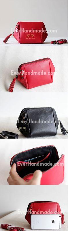 Handmade Leather phone purse clutch for women crossbody bag leather