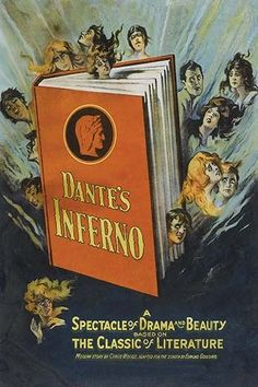 Copy of the Dante inferno Book with characters surrounding it