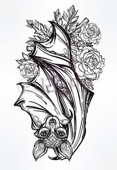 pipistrello notturno ornato di rose