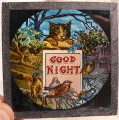 "Antique Magic Lantern Slide "" Good Night "" | eBay"