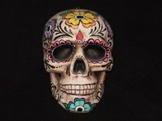 Stryofoam skull painted with D. The use of all the colors and flowers & the fact that it IS Mexican art I couldn't resist . Day of the Dead Skull: Frida 1 Sugar Skull Cakes, Sugar Scull, Sugar Skull Art, Totem Tattoo, Witch Costumes, 90s Costume, Kid Costumes, Character Costumes, Costume Ideas