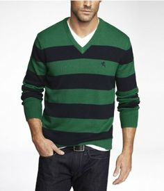 Rugby Stripe V-Neck Sweater #express #EXPownit #mensfashion #sweater #gifting