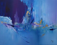 Rich and emotive coloured acrylic painting with blue, purple, black and golden shades.