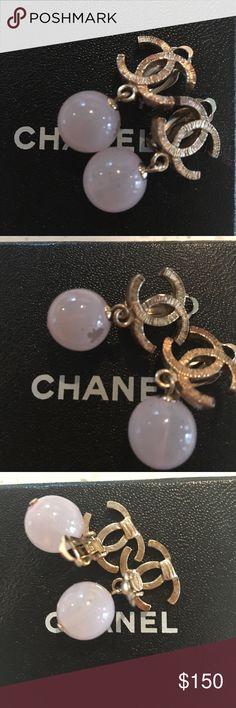 Chanel dangle earrings. Cc earrings with blush pink dangle. CHANEL Jewelry Earrings