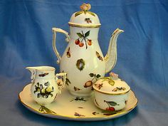 Herend Porcelain Hand Painted Floral & Fruit Coffee / Tea Set & Tray 4 pieces