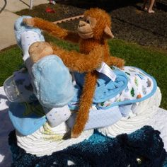 Picture of How to Make a Diaper Motorcycle Baby Shower Show Stopper