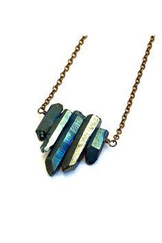 Peacock Colored Quartz Rock Crystal Necklace
