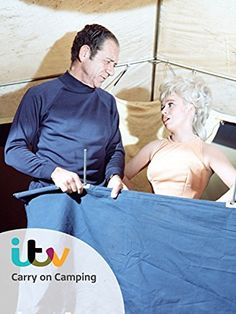 """Sidney James and Barbara Windsor trying to get the tent-up in """"Carry On Camping"""" Comedy Movies, Film Movie, Films, Sidney James, Barbara Windsor, Camping Holiday, British Comedy, His Eyes, Laugh Out Loud"""