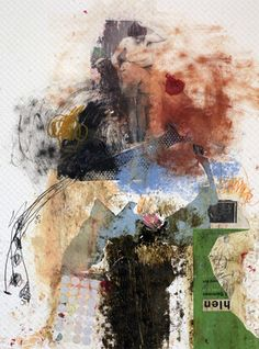 """Artist Michel Keck; Painting, """"Makes You Think Twice"""" #art #abstrait #collage"""