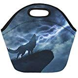 Wolf In Silhouette To Thunderstorm Insulated Lunch Tote Bag Reusable Neoprene Cooler Portable Lunchbox Handbag For Men Women Adult Kids Boys Girls Insulated Lunch Tote, Lunch Tote Bag, Handbags For Men, Thunderstorms, Kids Boys, Boy Or Girl, Wolf, Lunch Box, Silhouette