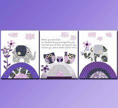 Purple and Grey Nursery art print set 5x7 Kids by SugarInspire, $29.95