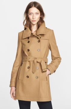 Burberry Brit 'Daylesmoore' Wool Blend Double Breasted Trench Coat