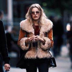 Shearling coat and jeans for fall.