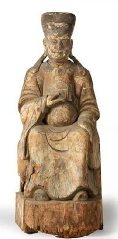 Chinese temple figure - wood carved chinese god - 19th