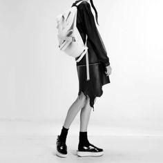 Filip Roth, White Microfiber/Leather Backpack.