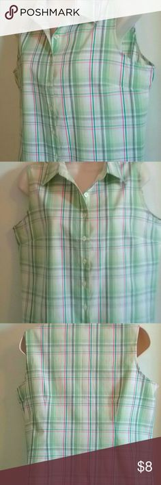 """BASIC EDITIONS Womens Sleeveless Blouse Size  M Pre- owned never worn sleeveless blouse size M, 13"""" shoulder to shoulder, 22"""" shoulder to hem, 18"""" underarm to underarm in front,  cotton blend Basic Editions Tops Blouses"""