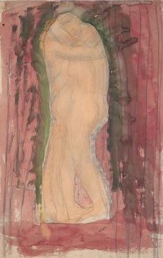 By Auguste Rodin (1840-1917), ca. 1900, Couple Embracing, Pencil and watercolor on paper.