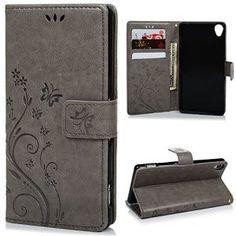 Sony Xperia Z3 Etui Cuir-Etui à Rabat Portefeuille de Carte Slots Support Case Cover Housse Sony Z3-ZSTVIVA [Style d'Impression]Gris
