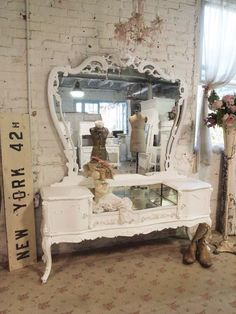 Painted Cottage Chic Shabby Romantic Vanity [VAN66] - $1,095.00 : The Painted Cottage, Vintage Painted Furniture