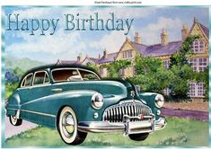 Vintage Buick jade automobile With mansion A4 on Craftsuprint - Add To Basket!