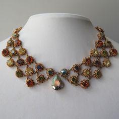 Vtg 1950's - 60's Haute Couture AB Rhinestone Dangle Collar Necklace