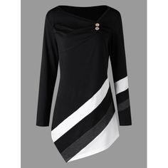 Plus Size Striped Asymmtrical Tunic Top - Black 5xl Mobile