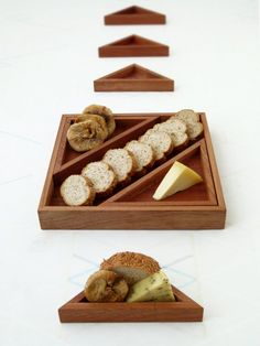 Wooden serving tray, set of 7 geometric wood trays, 1 square tray and 6 triangle trays, Modular set of trays, inspired by Tangram puzzle