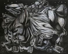 'Both Fall' by Clive Hicks-Jenkins from the Mari Lwyd series of paintings, 2002 (Conté on Arches Paper) Green Knight, Social Realism, Toy Theatre, Arches Paper, Page 3, Conte, Shadow Box, Cool Drawings, Illustrators