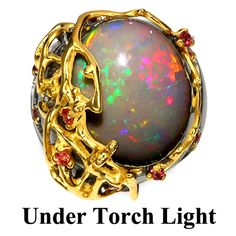 FIRE OPAL & RED SAPPHIRE (NATURAL) 2-TONE BLACK RHODIUM PLATED & 14K YELLOW GOLD PLATED 925 SILVER RING