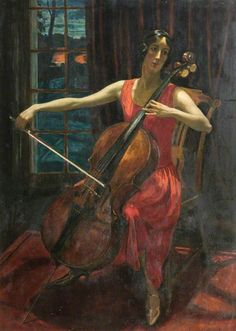 The Cello Player. Robert Sivell (Scottish, 1888-1958).  Oil on panel. Aberdeen Art Gallery & Museums.