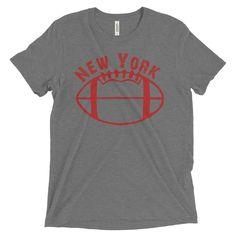 New York Giants Football Inspired Short Sleeve Tri Blend T-Shirt