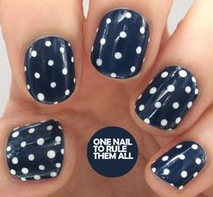One Nail To Rule Them All: Navy Polka Dots