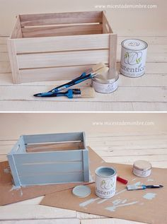 Chalk paint y DIY caja de madera. Popsicle Stick Crafts, Craft Stick Crafts, Diy And Crafts, Idee Baby Shower, Baby Shower Gifts, Wood Crates, Wooden Boxes, Crate Crafts, Diy Décoration