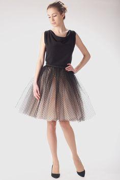 Adult champagne tutu skirt with black dots, wedding tulle skirt, petitcoat. €100.00, via Etsy.