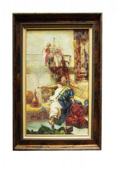 """Pintura Européia assinatura não identificada representando """" Príncipe Mouro com Narguilé"""" MI 85x55 cms ME 1,17x85 cms"""