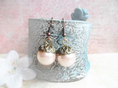 Vintage inspired brass acorn earrings with light pink glass pearls, nature jewelry, Selma Dreams, jewellery gifts for her for under 20 usd by SelmaDreams on Etsy