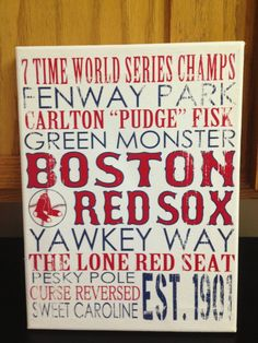9 x 12 Subway Art Canvas  Boston Red Sox by CreationsbyCLM on Etsy
