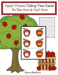 "Apple Activities: FREE set of apple-themed telling time cards for digital & analog times to the hour & half hour. Includes black line patterns so that students can make their own ""itty Bitty"" Telling Time Flip booklet, plus 2 assessments. Classroom Freebies, Special Education Classroom, Math Classroom, Maths, Classroom Ideas, Apple Activities, Halloween Activities, Apple Center, Telling Time Activities"