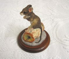 Vintage Mouse & Apple Core Figurine, Border Fine Arts, Scotland, 1992, Signed A. Wall by TheWhistlingMan on Etsy