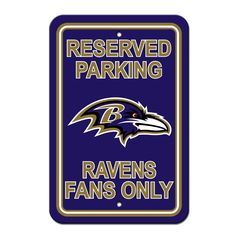 Baltimore Ravens Sign - Plastic - Reserved Parking - 12 in x 18 in (backorder)