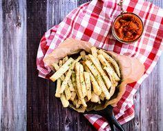 Portobello Sliders with Spicy Tomato Jam + Jicama Fries