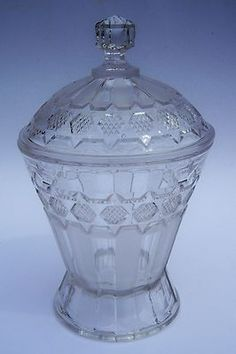 "EAPG Clear & Frosted Pressed Glass Covered Candy Apothecary Jar Ribbon & File, 7.5""H"