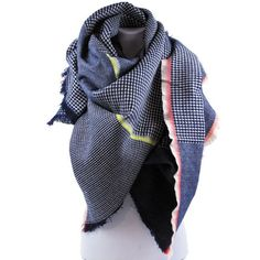 Soft Oversized Checkered Plaid Scarf Wrap Frilled Edges