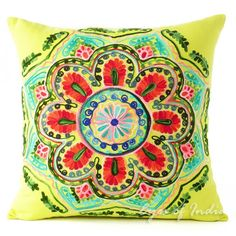 """16"""" GREEN EMBROIDERED DECORATIVE COUCH CUSHION PILLOW COVER Bohemian Boho Decor"""